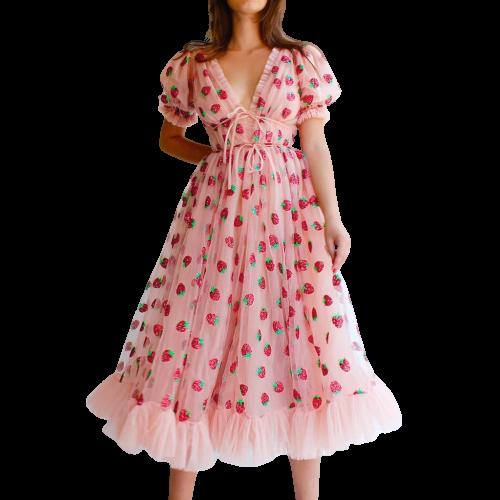Elegant Mesh Lace Strawberry Print Women Dress Deep V-neck Short Sleeve Party Dresses Sexy Midi High Waist Summer Dress J3