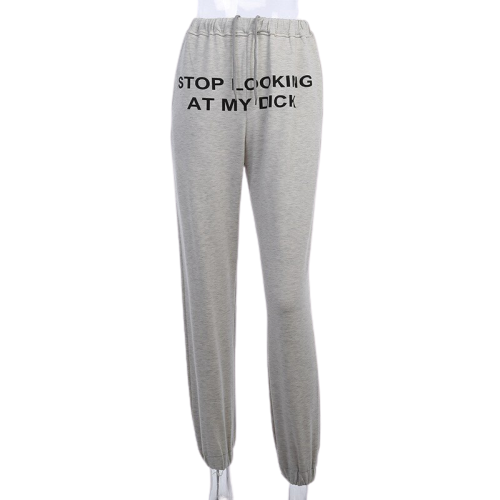 STOP LOOKING AT MY DICK sweatpants pants women high waist Pantalon Mujer hippie black pants womens joggers women sweat pants