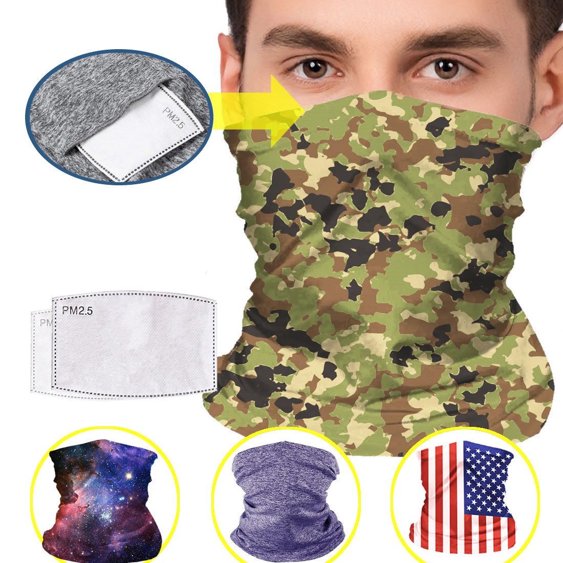 Mask Gaiters with Filters