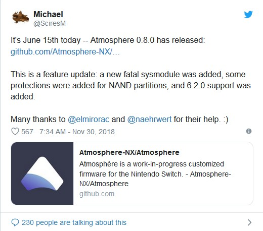 How to install Atmosphere v0 8 x on Nintendo Switch 6 2 0 firmware