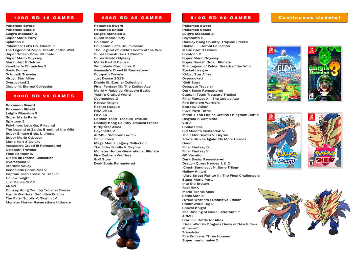 pre-installed sd card game list