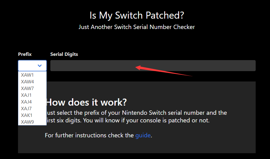 switch serial number