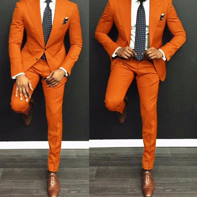 Bridalaffair Latest Coat Pant Designs Orange Men Suit Casual Slim Fit 2Pcs Tuxedo Tailor Groom Prom Party Blazer Jacket Pants