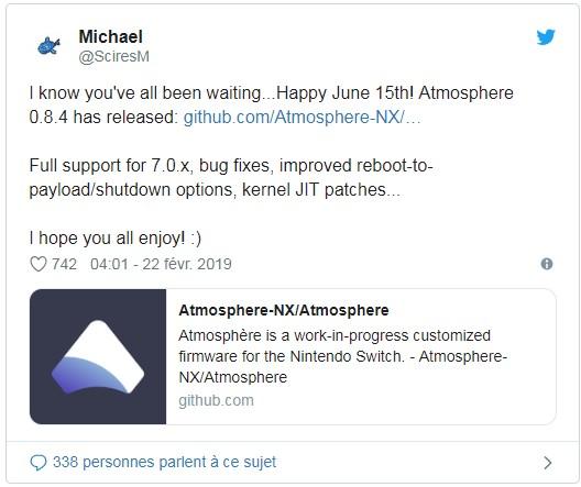 Hack Nintendo Switch v7 0 x avec Atmosphère v0 8 4 ou SX OS