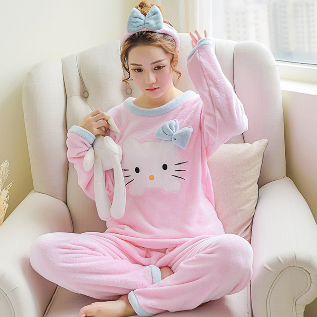 2 piece 2019 spring winter women girls lovely pink hello kitty Flannel pajamas suit Female Cartoon home warm sets fleece clothes