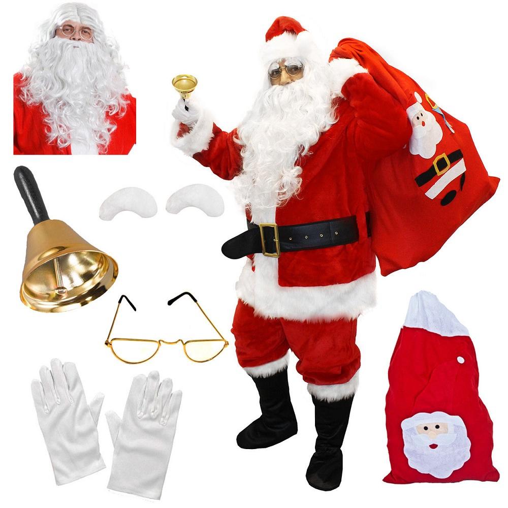 SANTA 5 PC KIT WIG BEARD GLOVES GLASSES EYEBROWS CHRISTMAS FANCY DRESS COSTUME