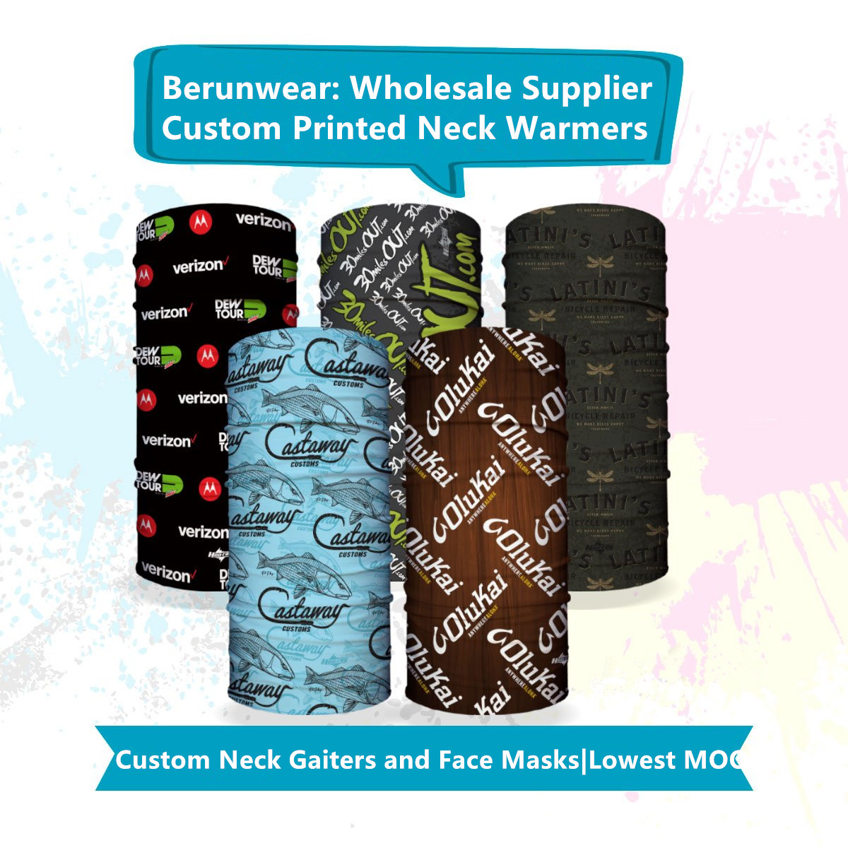 custom neck warmer gaiters